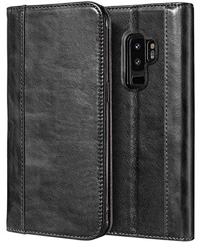 ProCase Galaxy S9 Plus Genuine Leather Case, Vintage Wallet Folding Flip Case with Kickstand and Multiple Card Slots Magnetic Closure Protective Cover for Samsung Galaxy S9+ 2018 Release