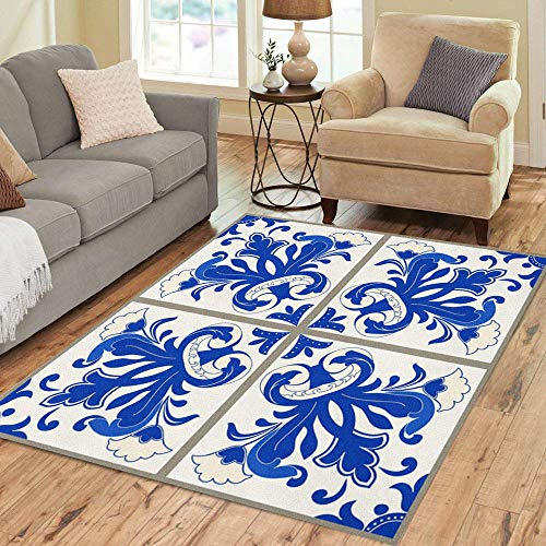 (Semtomn Area Rug 3' X 5' Majolica Pottery Blue and White Azulejo Original Traditional Portuguese Home Decor Collection Floor Rugs Carpet for Living Room Bedroom Dining Room)
