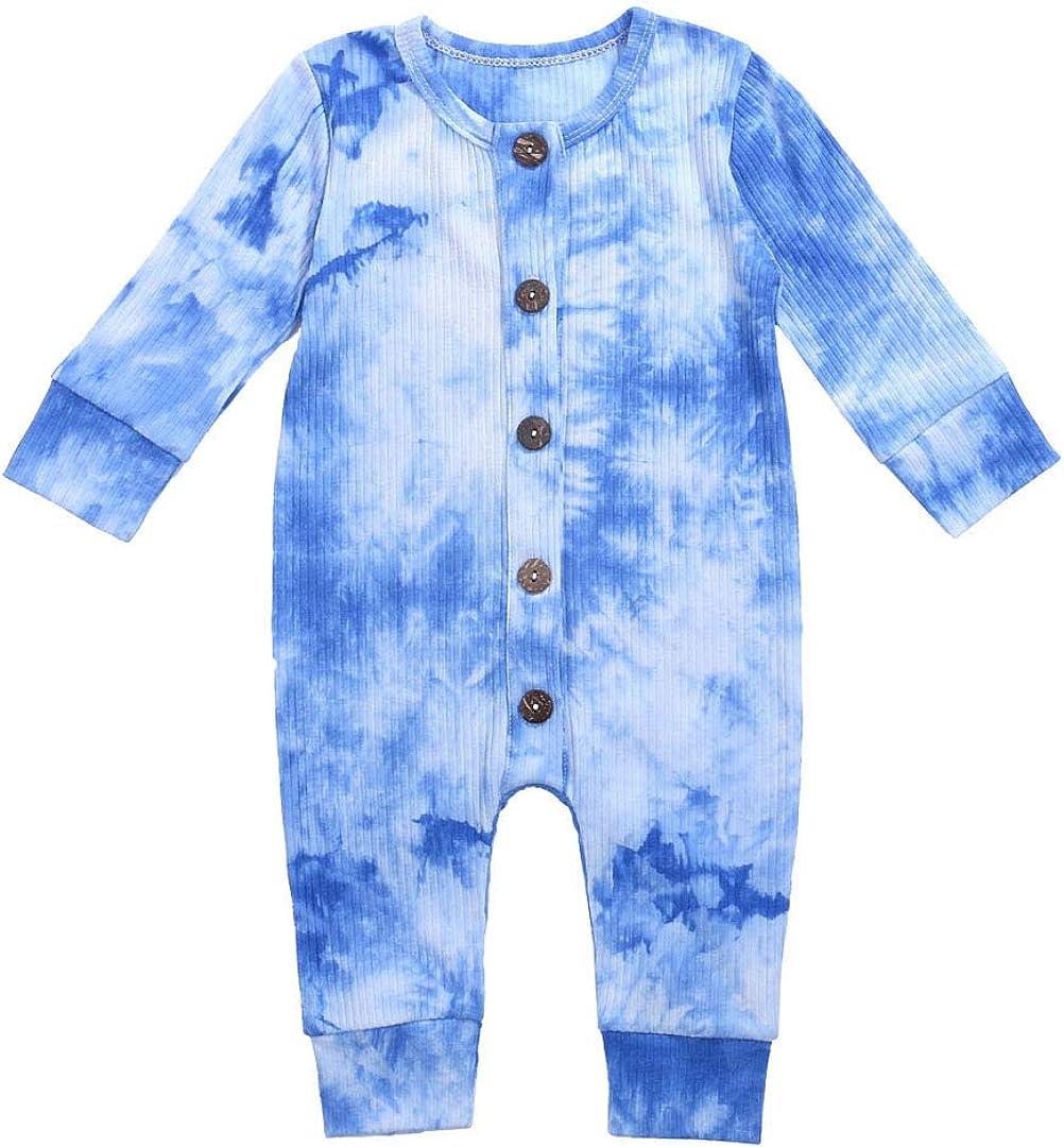 Newborn Infant Baby Boy Girl Button Tie Dyed Romper Jumpsuit Playsuit Clothes