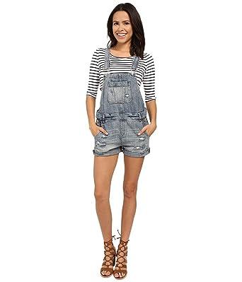 57669a8fb5 Blank NYC Women's Denim Short Overalls Denim Blue Pants 24 at Amazon ...