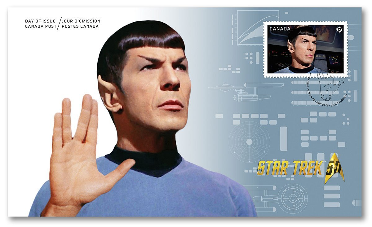 Star Trek 50th Anniversary- Spock - Live Long and Prosper - Official First Day Cover Collectible Postage Stamps Canada