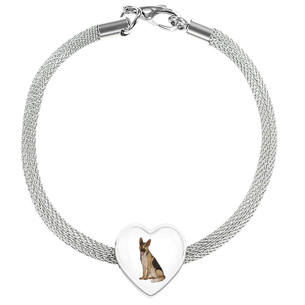 German Shepherd Heart Charm Steel Bracelet Funny Gift for Dog Lovers