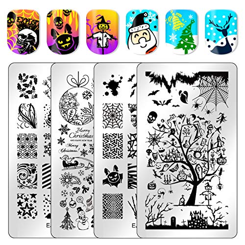 Ejiubas Stamping Plates Halloween Christmas Nail Stamping Kits Image Nail Art Plates Manicure Nail Stamping Plate Double-sided 2 Counts 4 ()