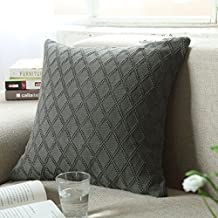 DOUH Cable Knit Cushion Cover 1PC (18 x 18inch) Flexibility Soft Sweater Square Sofa Throw Pillow Case Decorative Pillow Cover with Zipper Concealed,Grey