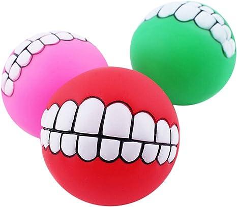 cradlebeauty Funny Pet perro bola dientes PVC juguete Chew sonido ...