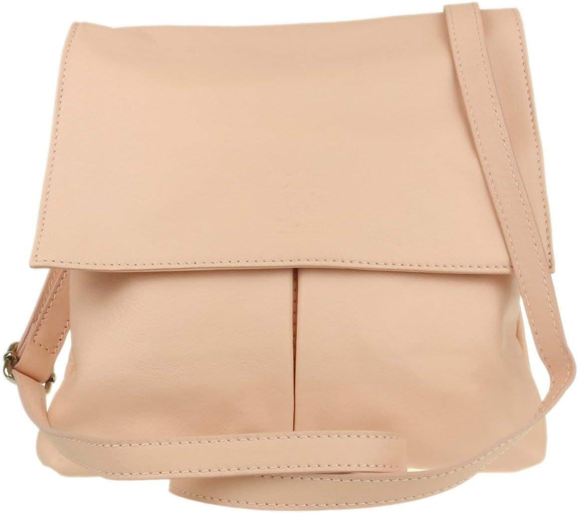 Black Italian Bag Company Womens Vera Pelle Medium Cross Body Bag Genuine Italian soft leather wit 2 Pockets