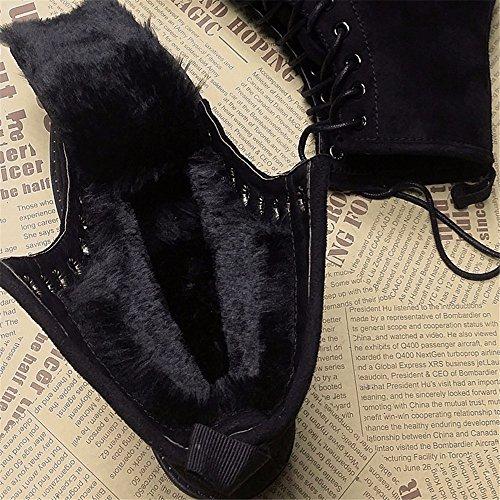 Invierno nuevo más el terciopelo acolchado cálido plano estudiantes botas redondas con botas de nieve Martin botas de mujer botas de algodón black