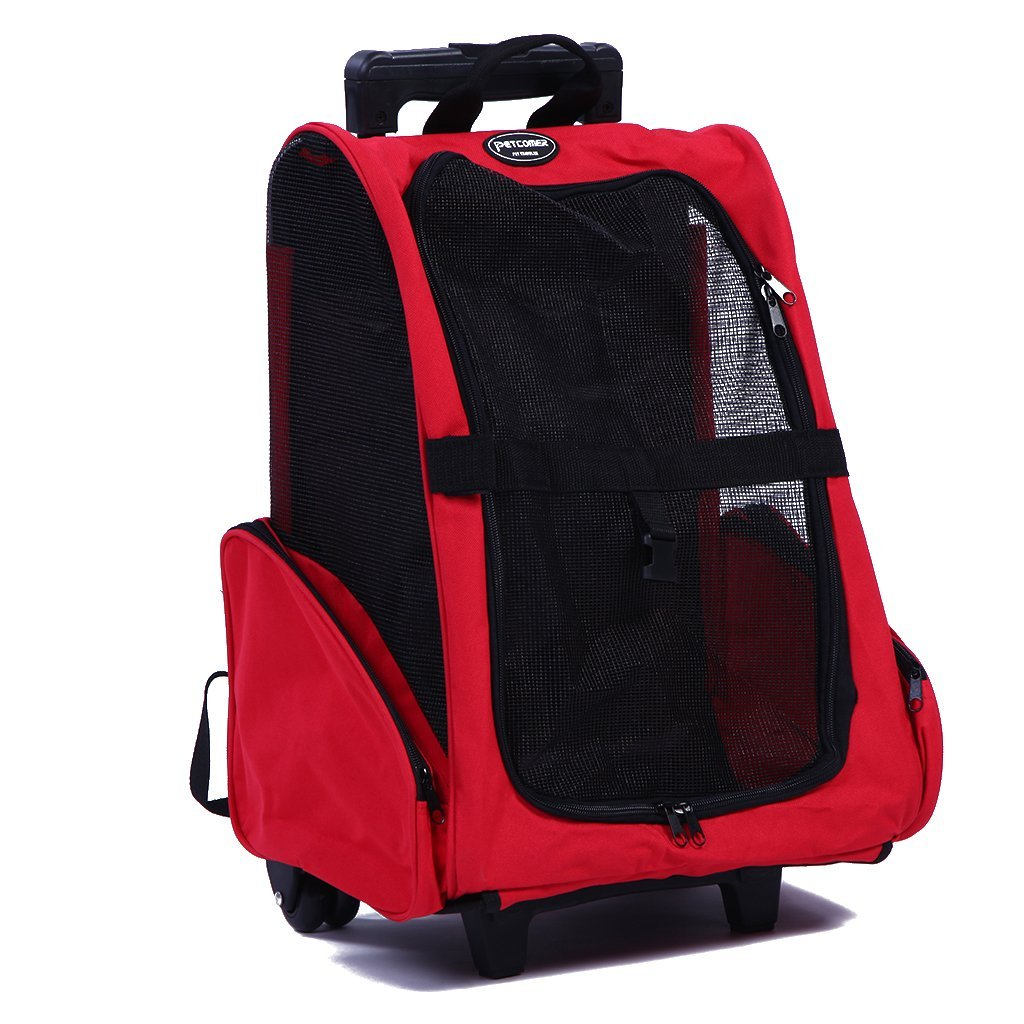 PETTOM Roll Around 4-in-1 Pet Carrier Travel Backpack Trolley for Dogs and Cats Easy Walk Travel Tote Airline Approved Red by PETTOM