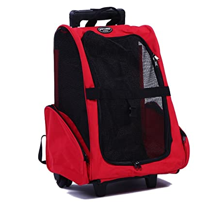 d7272cb39624 Pettom Pet Rolling Carrier Back Pack Dog Cat Wheel Around Luggage Bag (Red)
