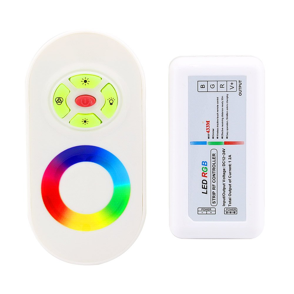 IWISHLIGHT 2.4G RGB LED Remote Controller Wireless RF Remote and 2.4G RF Touch Screen Dimmer for 5050 3528 5630 RGB Flexible LED Strip Light (White)