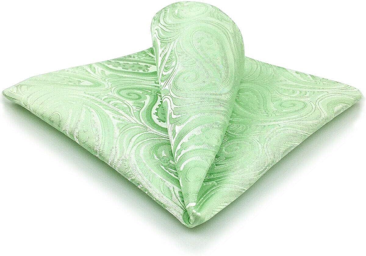 SHLAX/&WING Unique Solid Color Mens Pocket Square Paisley Light Green Honeydew Handkerchief