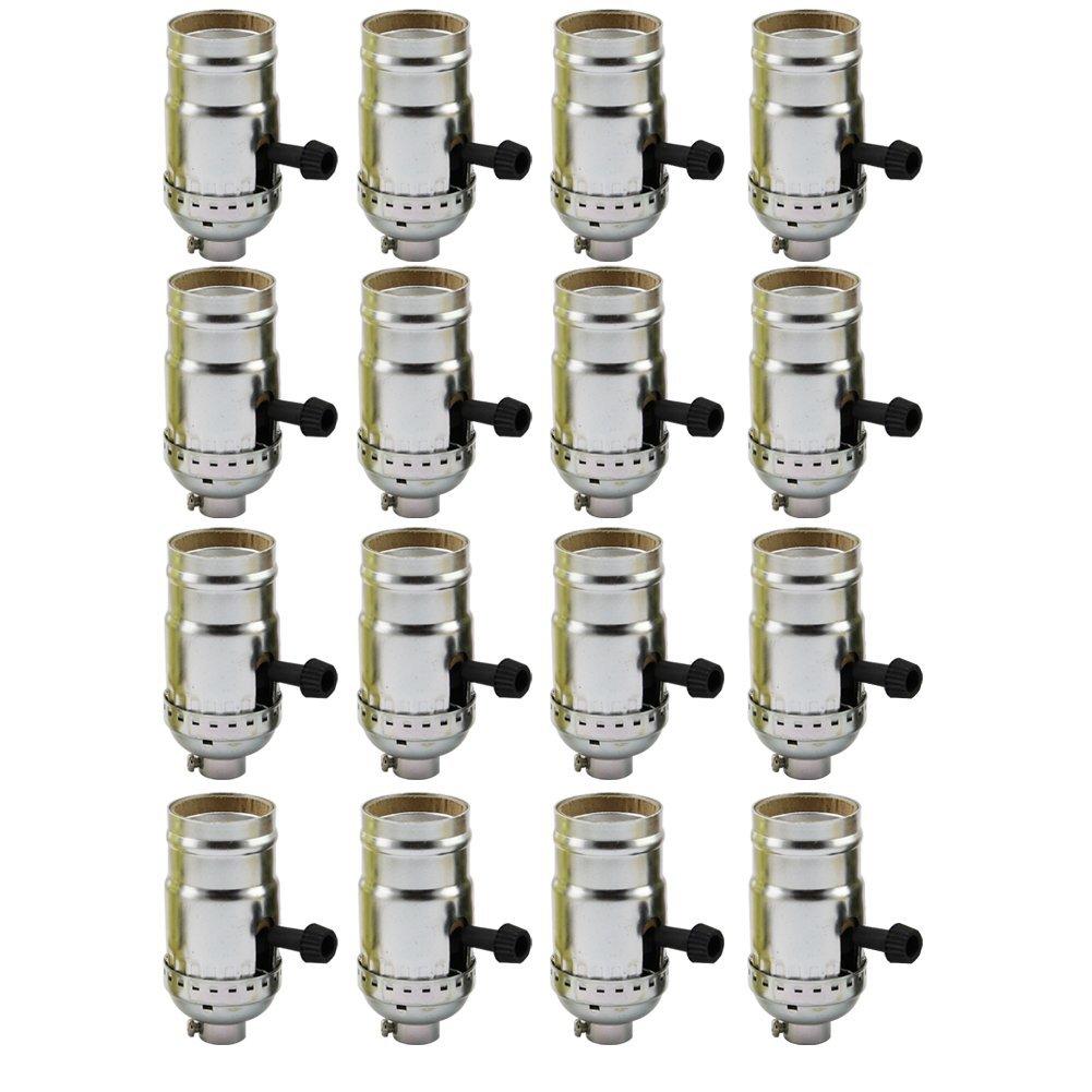 AAF On-Off Turn Knob Socket Polished Nickel Finish, E26 / E27 Medium Base with Screw Set, Pack of 16