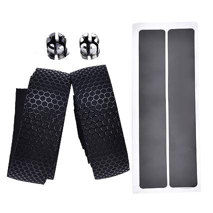 Black Shock Absorbing Soft Bike Handlebar Grip Tape w// Plugs 1 Pair