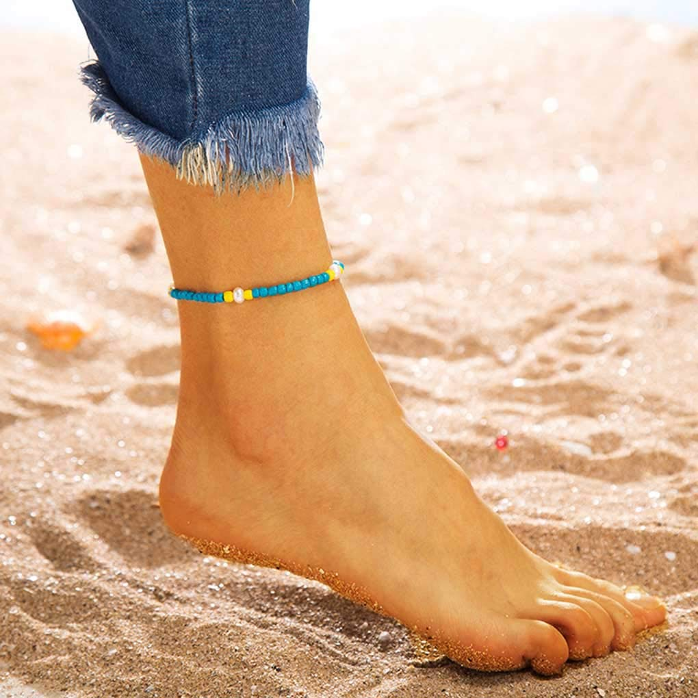 Tgirls 2Pcs Boho Layering Anklets Anklet Bracelet Beach Foot Tassel Ankle Accessories Jewelry for women and girls