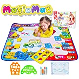 DX DA XIN Magic Water Mat Large Doodle Mat 31 x 31 inch 6 Color Aqua Magic Drawing Pad with 4 Pens 14 Molds Kids Educational Learning Toy Gift for Boys Girls Toddlers Age Toys