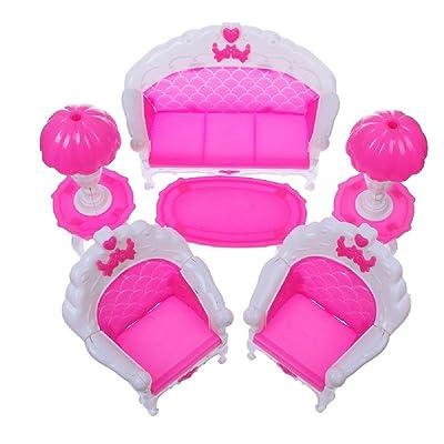 storeinbox 6 pièce maison de poupée meubles salon salon Canapé Ensemble pour barbie accessoires