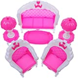 STOREINBOX 6 pcs Dollhouse Furniture Living Room Parlour Sofa Set for Barbie Accessories