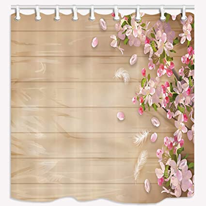 NYMB Brown Shower Curtain Watercolor Wood Grain Plum Blossom Polyester Fabric Waterproof Bath