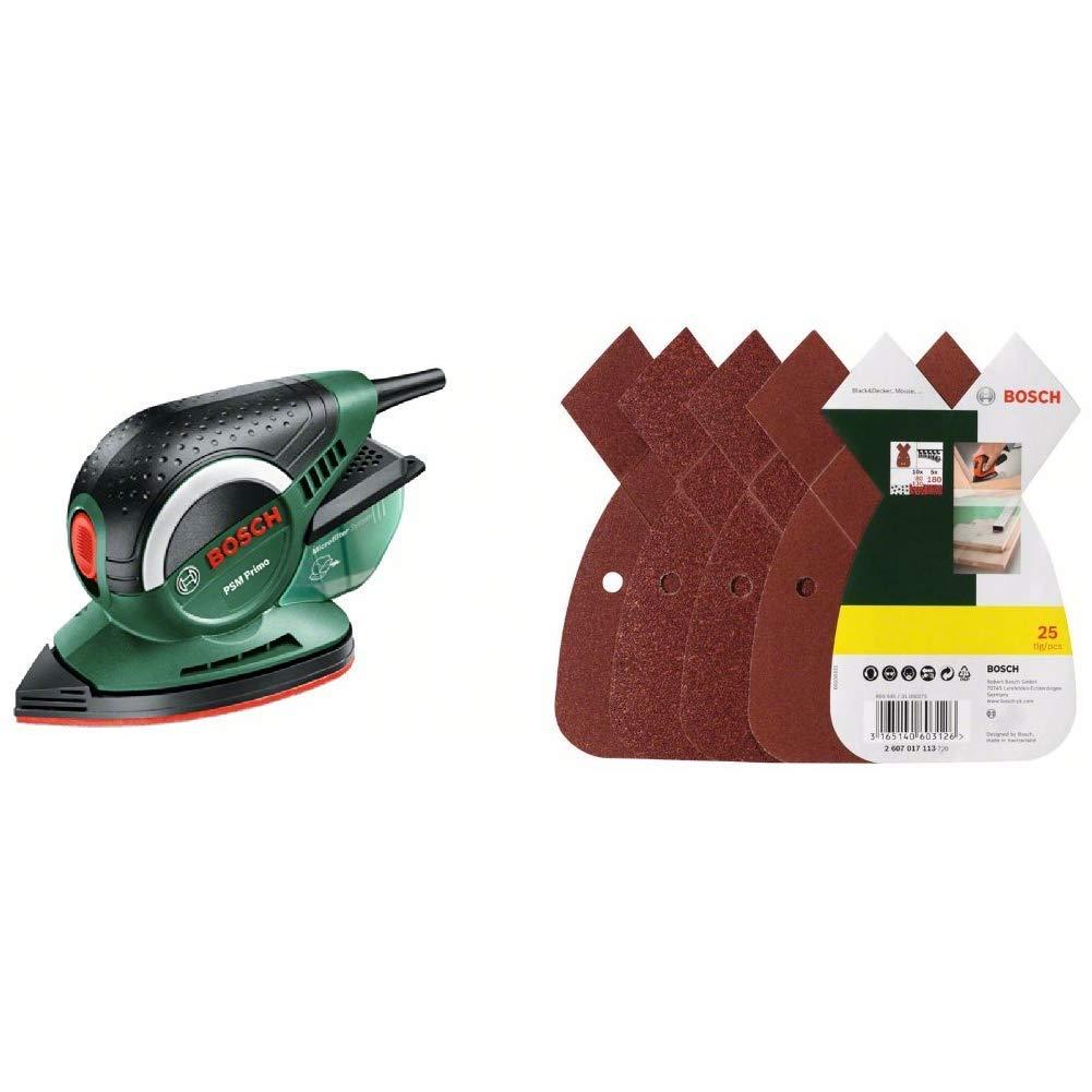 Bosch 6tlg Schleifblatt-Set f/ür Multischleifer verschiedene Materialien, 95 x 135 mm, K/örnung 80//120//180 Bosch DIY Multischleifer PSM Primo 1 Schleifpapier K 80 Karton