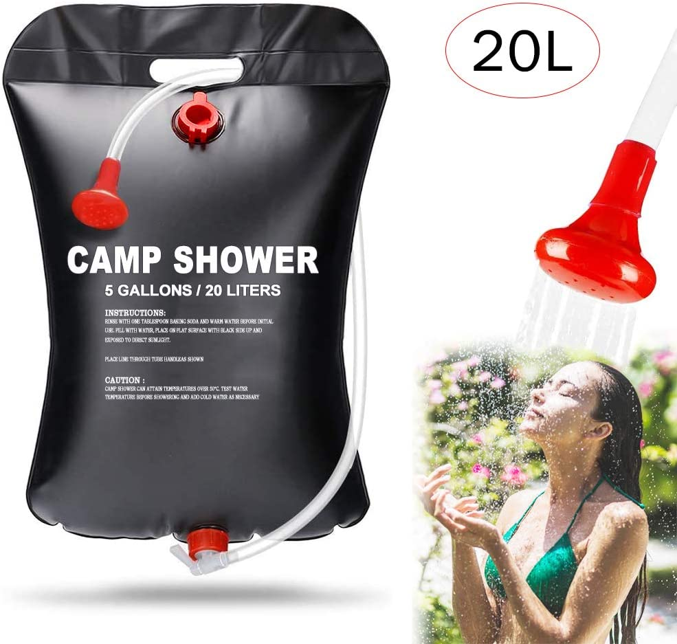 Aiooy Camping Shower Bag, Solar Shower Bag, Portable Shower Bag, 20L Portable Solar Heated Travel Shower for Traveling Beach Swimming Garden Hiking : Sports & Outdoors