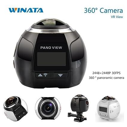 4K 360 Action Camera Panoramic Camera 2448*2448 Ultra HD Panorama 360  Degree Video Cameras Deportiva Wifi Sport Cam Driving VR Camera--Black