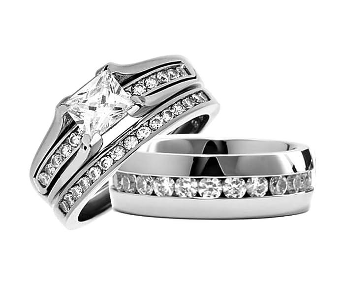 Juego de anillos de boda de princesa y eternidad para hombre ...