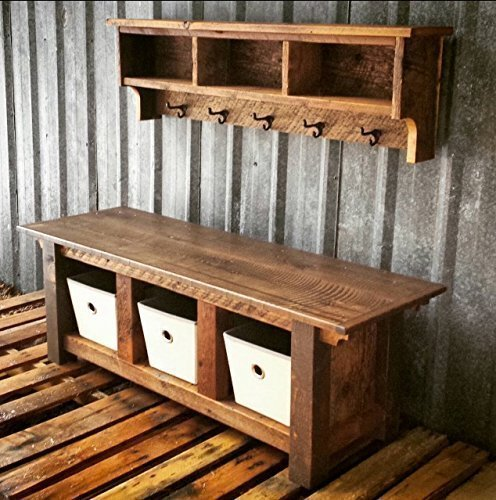 Reclaimed Barnwood Three Cubby Bench & Shelf Cubby Set