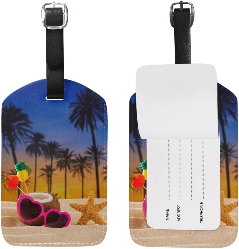 Chen Miranda Coconut Cocktail Tropical White Sand Luggage Tag PU Leather Travel Suitcase Label ID Tag Baggage claim tag for Trolley case Kids Bag 1 Piece