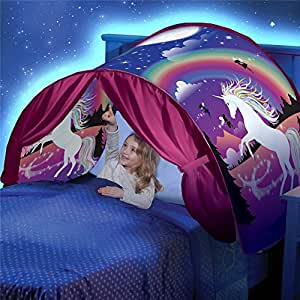 DSSY Kids Dream Tent Pop Up Bed Tent Playhouse Magical Dream World Winter Wonderland Dinosaurs Unicorn Fantasy (Unicorn)