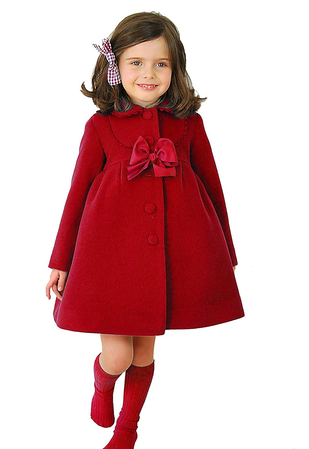 Waboats Little Girls Winter Warm Wool Bowknot Trench Long Sleeve Coat Red 5-6Y