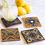 Spanish Garden Hand Painted Talavera Coasters (Set of 4)