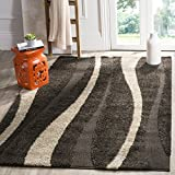 Safavieh Willow Shag Collection SG451-2813 Dark Brown and Beige Square Area Rug (5′ Square)