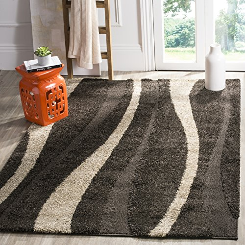 Safavieh Willow Shag Collection SG451-2813 Dark Brown and Beige Area Rug (3'3