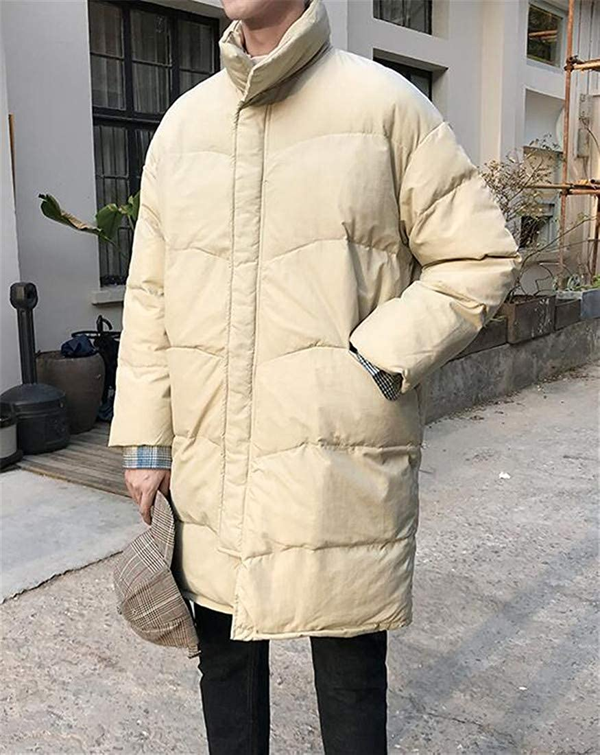 Cromoncent Mens Stand Collar Overcoat Quilted Cotton-Padded Parkas Coats