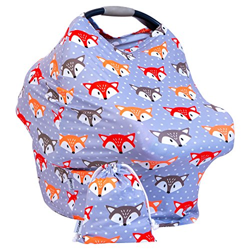 Summer Sale - Premium Baby Car Seat Canopy - Multi Use Breastfeeding Cover Up - Shawl for Nursing, 360ᵒ Privacy, Shopping Cart, Stroller or Car seat Cover- with Free Carry Pouch - Fox Grey Pattern (Womens Cover Shoreline)