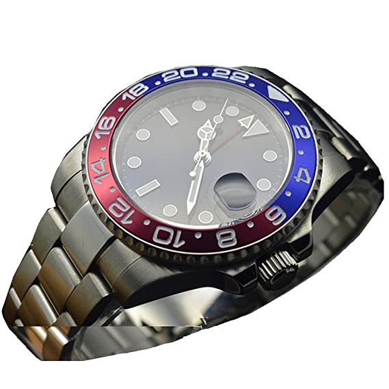 PARNIS 47 mm GMT Automático viento mecánica reloj bisel de cerámica de reloj militar: Amazon.es: Relojes