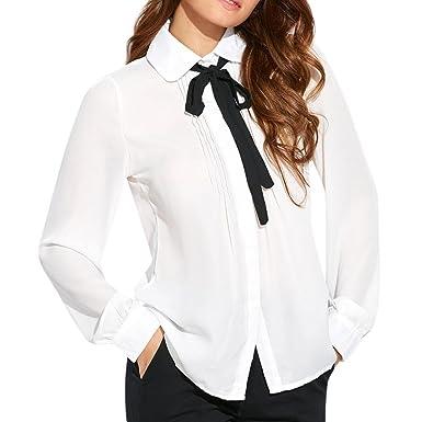 8b5fb2e1bf JIANGfu Femme T-Shirt Chemisier à Manches Longues Femmes Mode  Occasionnelles Revers Cravate Blouse lâche