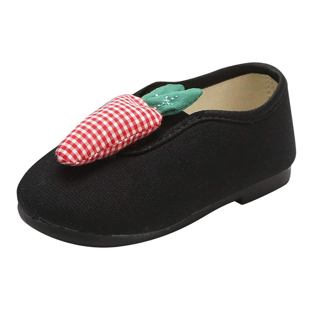 Tantisy ♣↭♣ Girl's Casual Comfy Slip-on Sock Shoes Detachable Fruit Decoration Pop Flat Loafers (Toddler/Little Kid/Big Kid) Black by Tantisy ♣↭♣ Baby Shoes