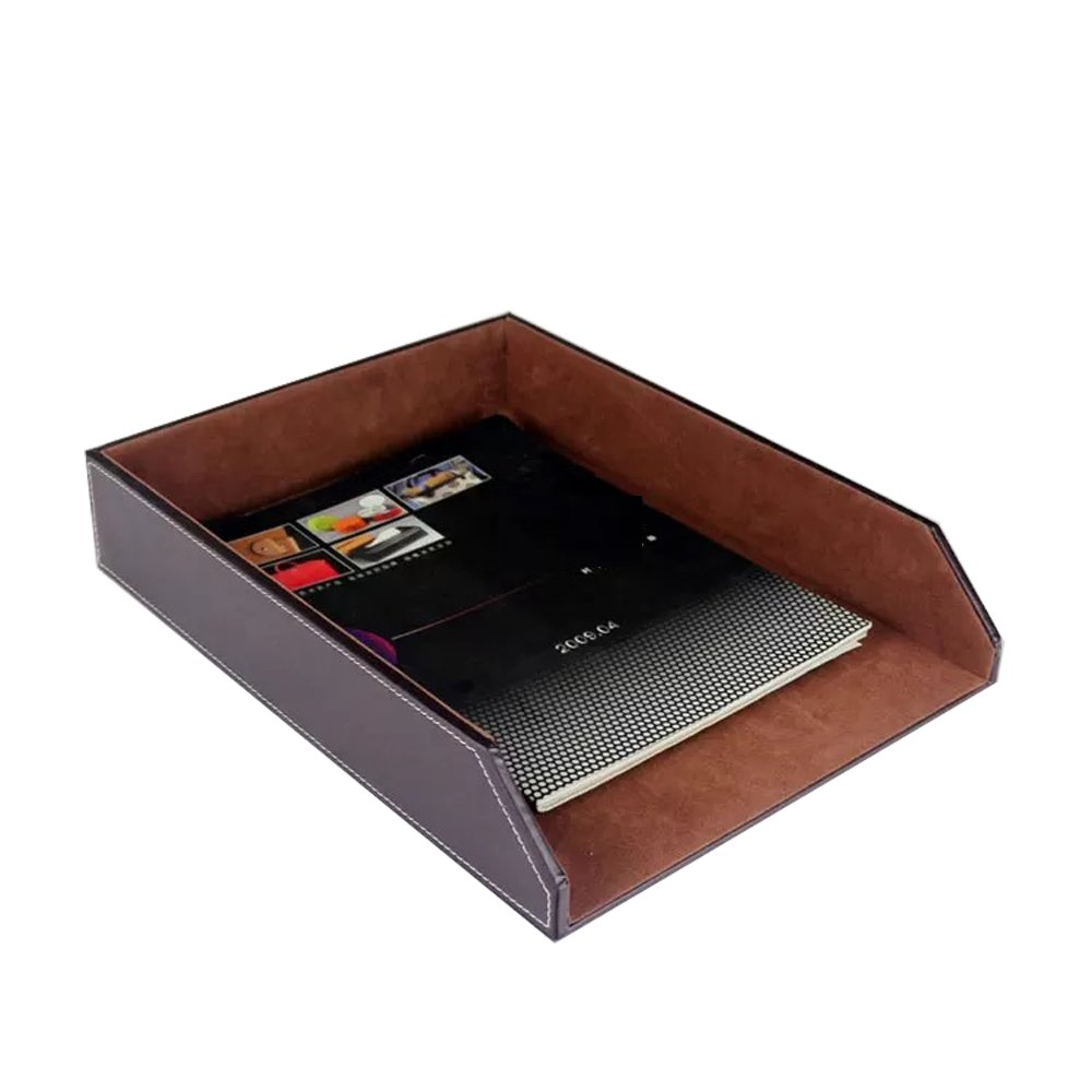 UnionBasic PU Leather Stackable Office File Document Tray Case Rack Desk File Document Organizer Holder (Brown)