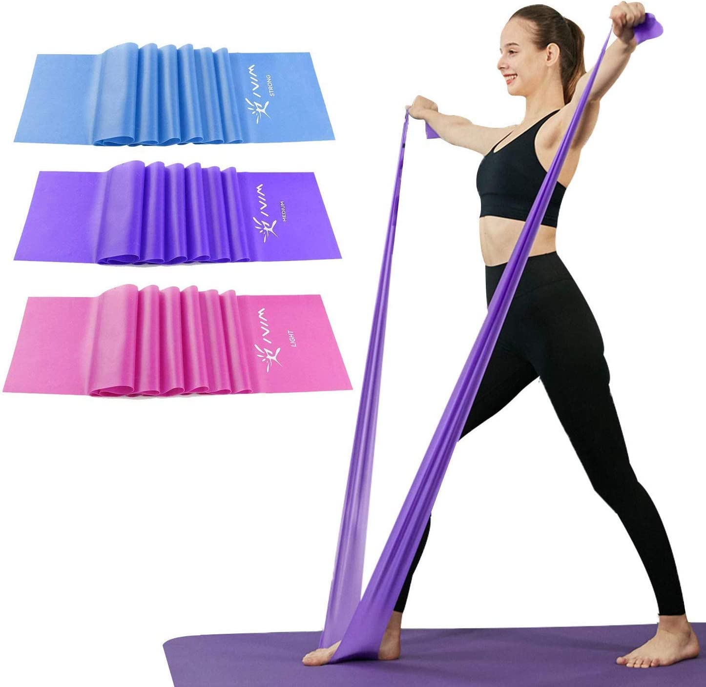 Amazon Com Therapy Flat Resistance Bands Set Latex Free Flat Exercise Stretch Bands For Stretching Flexibility Pilates Yoga Ballet Gymnastics And Rehabilitation Pin Purple Blue 3 Packs 5 9ft Long Sports Outdoors