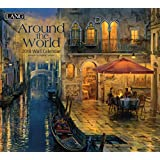 """Lang Wall Calendar """"Around the World"""" Artwork by Evgeny Lushpin-12 Month-Open Size, 13 3/8"""" X 24"""""""