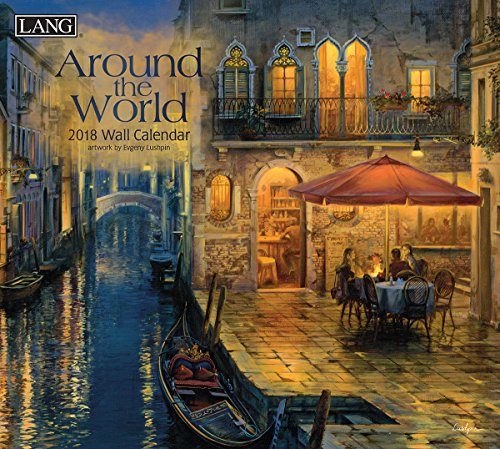 "LANG - 2018 Wall Calendar - ""Around the World"" - Artwork by Evgeny Lushpin - 12 Month - Open Size, 13 3/8"" X 24"""