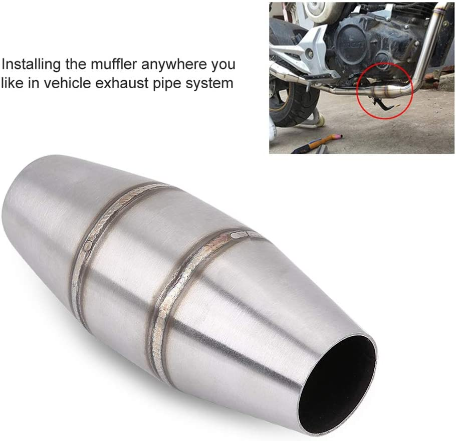 Qiilu Motorcycle Universal Exhaust Pipe Muffler Silencer 35mm Muffler Catalyst Expansion Chamber for CRF RMZ DRZ KTM YZF KXF CRF WRF WR YZ Exhaust