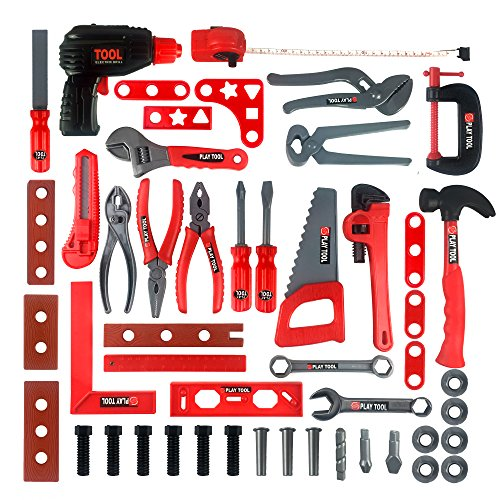 - Kidami Deluxe 52 Piece Kids Toy Tool Set, Construction Tool Sets Pretend Play Toys with a Handy Storage Bag