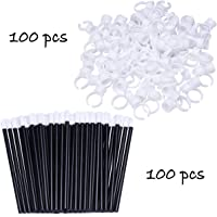 100 Glue Holder Rings Cup for Tattoo and Eyelash Extension and 100 Lip Gloss Wands Lipstick Brush Applicator for Makeup
