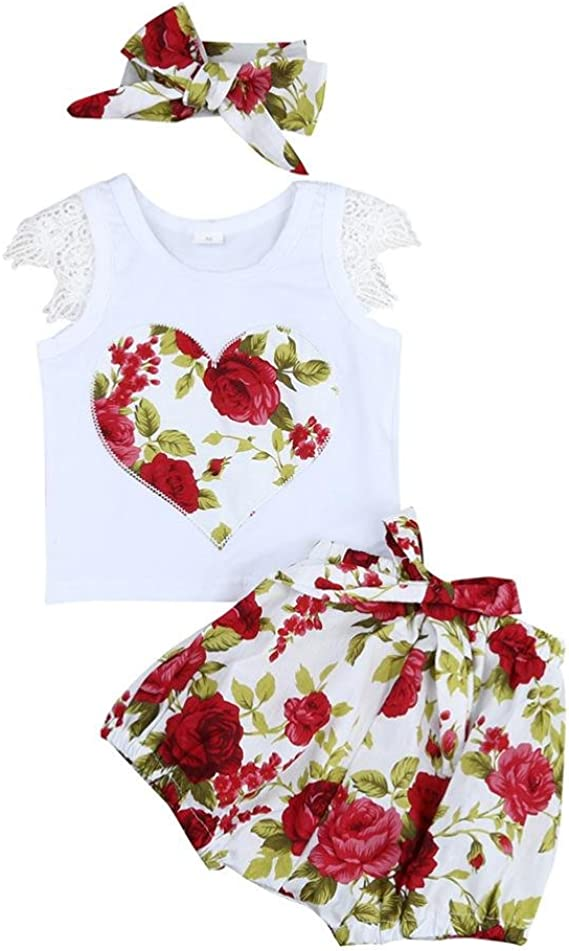 UK 3PCS Kids Baby Girl Summer Outfits Tops T-shirt Pants Trousers Clothes Set