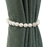 Homeerr Window Curtain Tiebacks Clips Fashion ABS Pearl Magnetic Tie Band Home Office Decorative Buckle Rope Holder (40CM/15.7inch), Pearl White,Set of 2