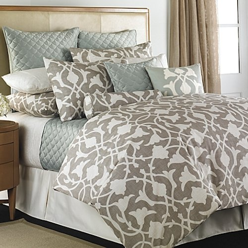 Barbara Barry Poetical Queen Full Duvet Cover Set, Silver