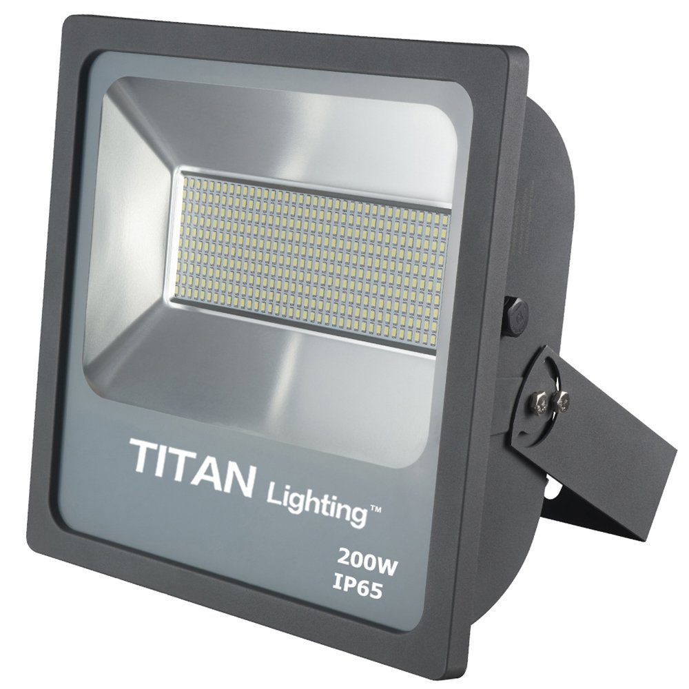 Titan Lighting Gray 200W Led Flood Lights, 400W HPS/HID Replacement, 17000LM, 6000K Day Light, Waterproof, 120-277V, Instant on