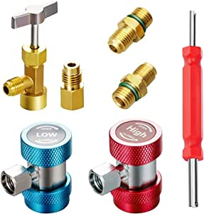 Lichamp 3-in-1 AC Tool Kit, AC R134A Adapters Quick Couplers with Can Tap Valve and Valve Core Remover